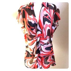 Sheer twist front paisley dress shirt